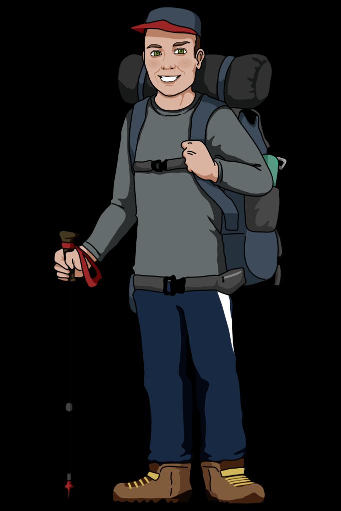 Alex Hiking Cartoon